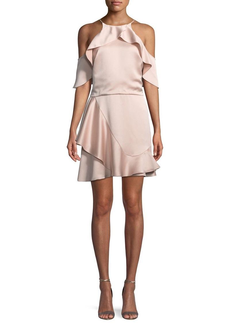 Halston Heritage Flouncy Cold-Shoulder Halter Mini Dress