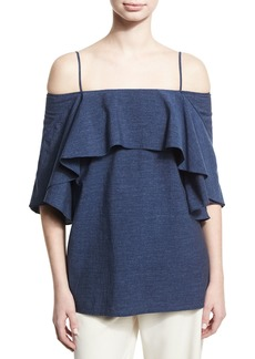 Halston Heritage Flowy Cold-Shoulder Denim Top