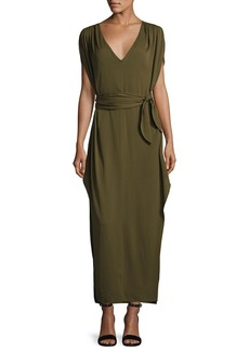 Halston Heritage Flowy Deep V-Neck Silk Georgette Maxi Dress