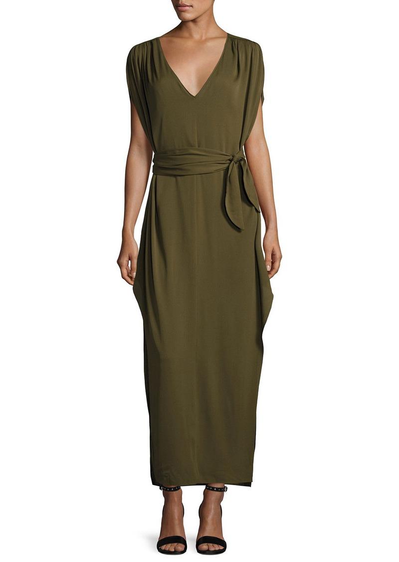 Halston Heritage Flowy Deep V-Neck Silk Georgette Maxi Dress
