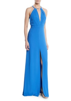 Halston Heritage Flowy Keyhole Cutout Sleeveless Gown