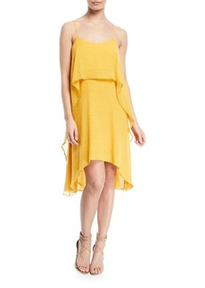 Halston Heritage Flowy Layered-Flounce Sleeveless Dress