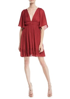 Halston Heritage Flowy Mini Dress w/ Capelet & Pleating