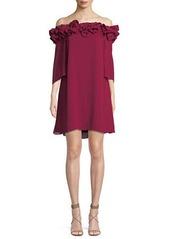Halston Heritage Flowy Mini Dress w/ Ruffle Trim