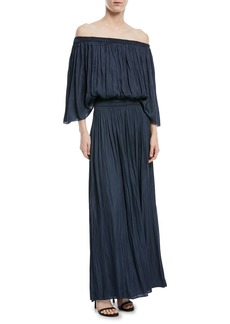 Halston Heritage Flowy Off-the-Shoulder Smocked Gown