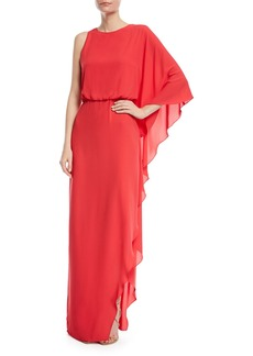 Halston Heritage Flowy One-Shoulder Gown w/ Back Cowl