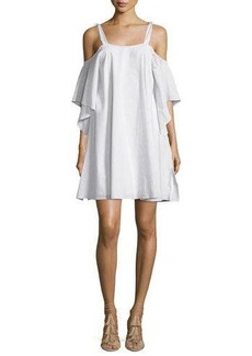 Halston Heritage Flowy Short-Sleeve Cold-Shoulder Trapeze Dress