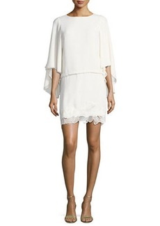 Halston Heritage Flowy Sleeve Boat-Neck Embroidered Blouson Cocktail Dress