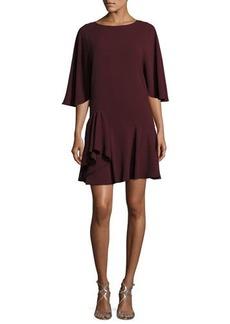 Halston Heritage Flowy-Sleeve Dress w/ Ruffle Skirt