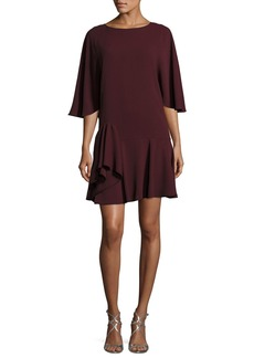 Halston Heritage Flowy-Sleeve Dress w/ Ruffle Skirt
