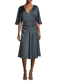 Halston Heritage Flowy-Sleeve Satin Cocktail Dress