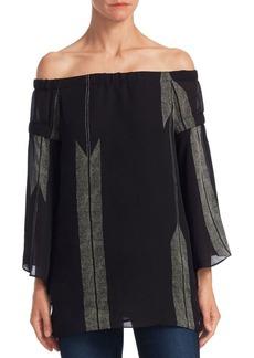 Halston Heritage Flowy Sleeve Silk Off-The-Shoulder Top