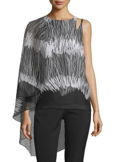 Halston Heritage Flowy Sleeveless Top W/Asymmetric Cape