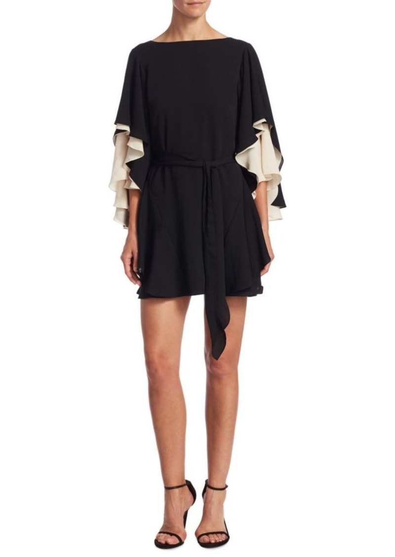 Halston Heritage Flutter-Sleeve Dress