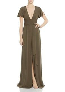 HALSTON HERITAGE Flutter-Sleeve Jersey Gown