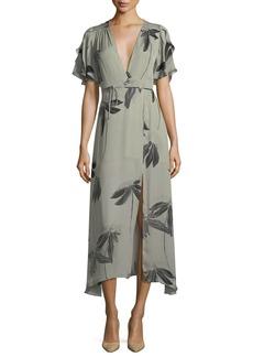 Halston Heritage Flutter-Sleeve Printed Silk Faux-Wrap Dress