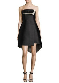 Halston Heritage Folded Strapless High-Low Cocktail Dress