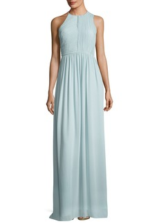 Halston Heritage Fortuny Plissé Back Drape Evening Gown