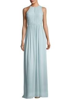 Halston Heritage Fortuny Plissé Back Drape Evening Gown