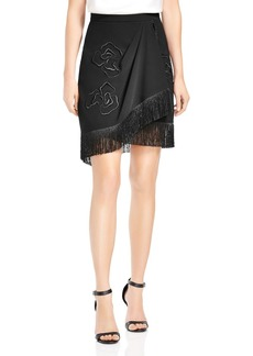 HALSTON HERITAGE Fringed Floral-Embroidered Crepe Skirt