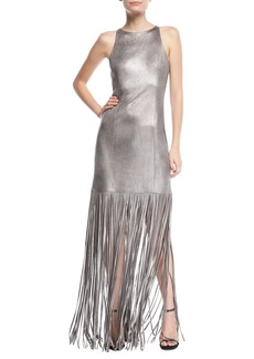 Halston Heritage Fringed Metallic Faux-Suede Gown