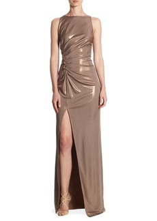 Halston Heritage Ruched Boatneck Gown