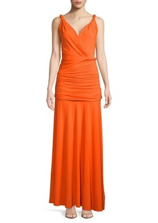 Halston Heritage Full-Length Shirred Grecian Dress