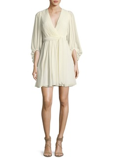 Halston Heritage Full-Sleeve V-Neck Plisse Chiffon Cocktail Dress