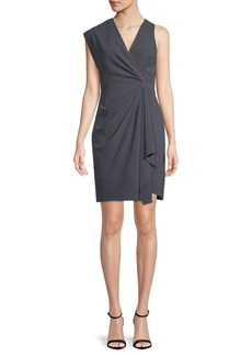 Halston Heritage Gathered Drape Sheath Dress