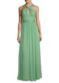 Halston Heritage Gathered Floor-Length Dress