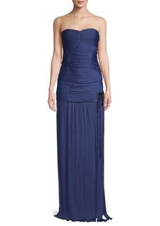 Halston Heritage Gathered Floor-Length Gown