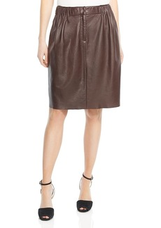 Halston Heritage Gathered Leather Skirt