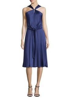 Halston Heritage Gathered-Neck Sleeveless Dress