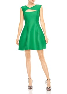 HALSTON HERITAGE Geo Cutout Fit-and-Flare Dress