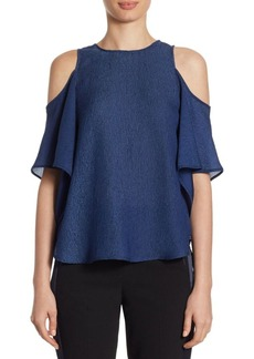 Halston Heritage Georgette Cold-Shoulder Top