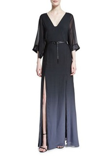 Halston Heritage Half-Sleeve Belted Ombre Gown