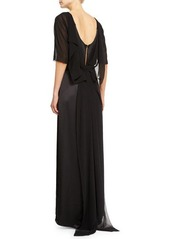 Halston Heritage Half-Sleeve Draped-Back Gown