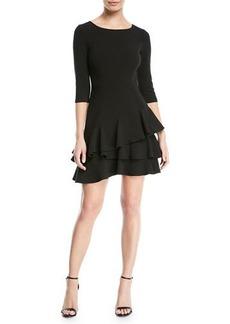 Halston Heritage Half-Sleeve Flounce Mini Dress