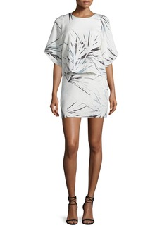 Halston Heritage Half-Sleeve Printed Popover Mini Dress