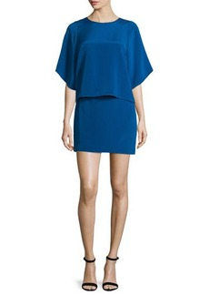 Halston Heritage Half-Sleeve Stretch-Faille Popover Dress