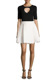Halston Heritage Half-Sleeve Twofer Colorblock Dress