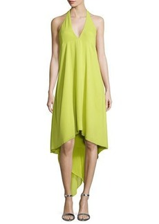 Halston Heritage Halter-Neck Asymmetric Cocktail Dress