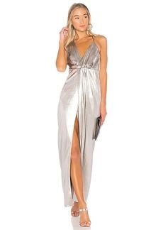 Halston Heritage Halter Neck Asymmetrical Dress in Metallic Silver. - size 0 (also in 2,4,6,8)
