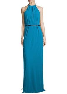 Halston Heritage Halter-Neck Belted Evening Gown