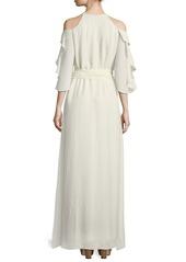 Halston Heritage Halter-Neck Flounce Ruffle Self-Tie Evening Gown