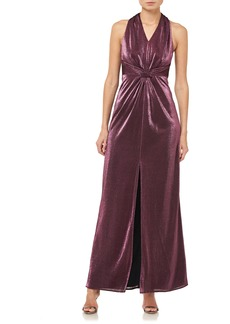 Halston Heritage Halter Neck Metallic Knit Gown