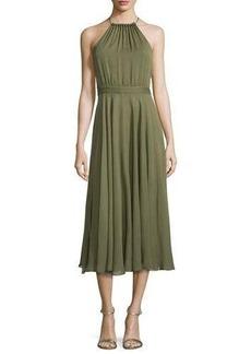 Halston Heritage Halter-Neck Shirred Midi Dress