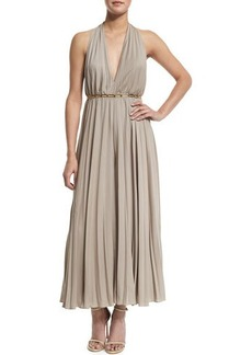 Halston Heritage Halter Pleated Wide-Leg Jumpsuit