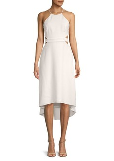 Halston Heritage Halterneck Hi-Lo Cut-Out Dress