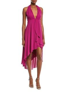Halston Heritage High-Low Halter Cocktail Dress